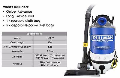 Pullman Advance Commander PV 900 Backpack Vacuum- 2 Year Warranty