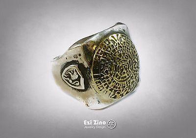 Mayan Mexico Mexican Rockabilly Style biker signet ring Silver Sterling 925