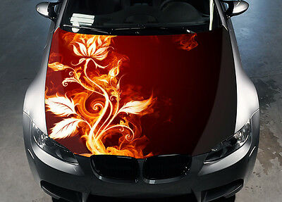 Fire Flowers Car Hood Wrap Color Vinyl Sticker Decal Fit Any Car