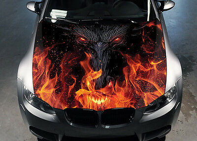 Dragon Eyes Car Hood Wrap Color Vinyl Sticker Decal Fit Any Car