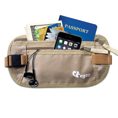Egoz Cashew Hidden Waist Bag Undercover Money Belt Secure Passport Travel Pouch