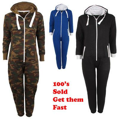 Kids Girls Boys Hooded Camouflage All In One Army Fleece Tracksuit Sizes