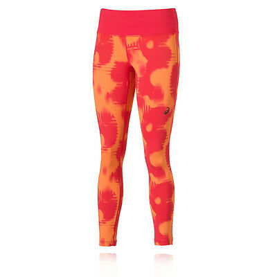 ASICS Fuse X Womens Pink Orange Long Running Fitted Tights Bottoms Pants