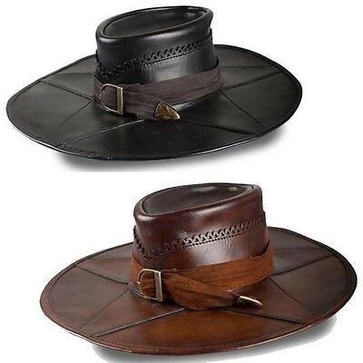 Quality Leather Witch Hunter Hat. Costume Re-enactment Or LARP Black Or Brown