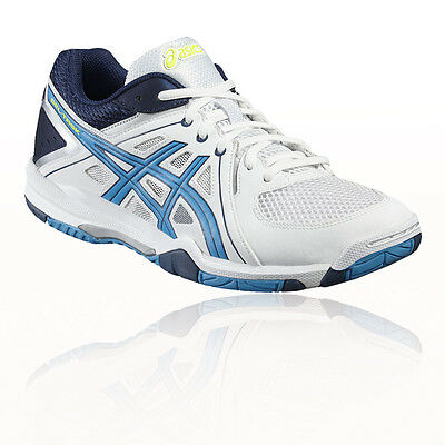 Asics Gel-Task Mens White Blue Indoor Court Badminton Sports Shoes Trainers