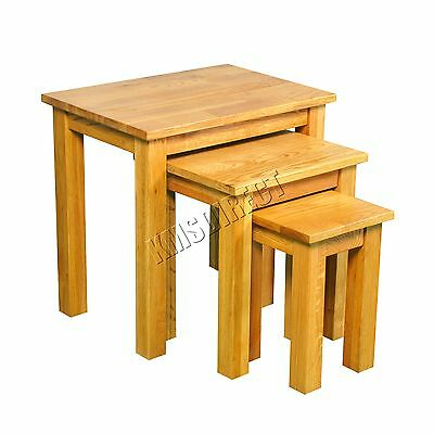 FoxHunter Solid Natural Wooden Oak Nest OF 3 Tables Livingroom Furniture FH-OF07