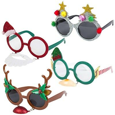Pack of 4 Assorted Novelty Christmas Fancy Dress Hanging Glasses