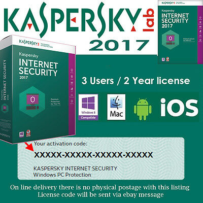 Kaspersky INTERNET SECURITY 2017 MULTI-DEVICE | 3 USERS / 2 YEAR | LICENSE KEY