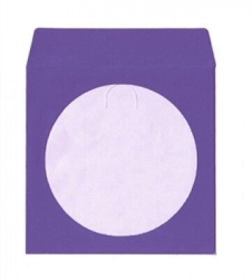 100 Purple Color Paper CD Sleeves with Window & Flap