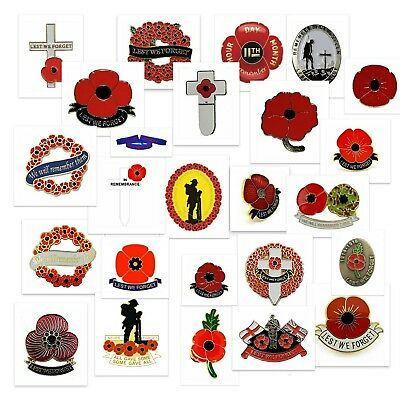 Remembrance poppy pin badges for poppy appeal