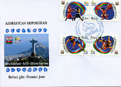 Azerbaijan 2016 FDC Summer Olympic Games Rio 4v Set Cover Boxing Oympics Stamps