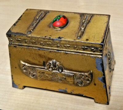 Antique Benedict Bronze Egyptian chariot Revival Cigarette Trinket jewelry Box