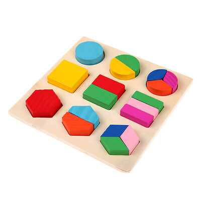 Kids Baby Wooden Geometry Block Puzzle Montessori Early Learning Educational Toy
