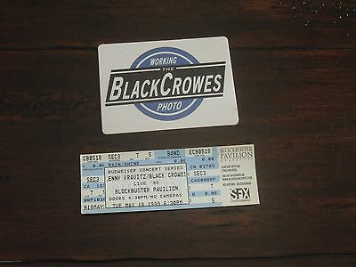 1999 The Black Crowes & Lenny Kravitz Ticket & Backstage Pass May 18th Charlotte