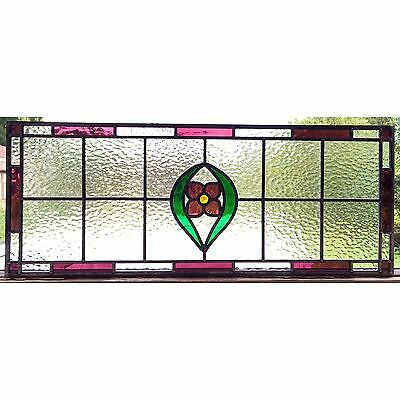 Hand Crafted Stained Glass Window Door Panels Pink/purple Flower, Made To Order