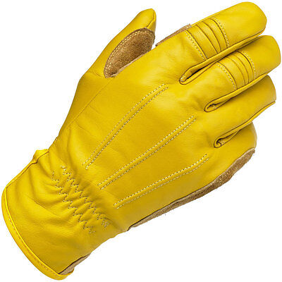 BILTWELL Leather Work/Motorcycle Gloves (Gold) Choose Size