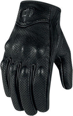 ICON Pursuit Perforated Touchscreen Motorcycle Gloves (Black) Choose Size