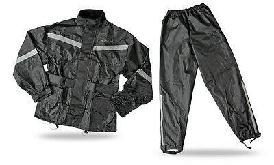 FLY RACING Two-Piece Motorcycle Rain Suit (Black) Choose Size