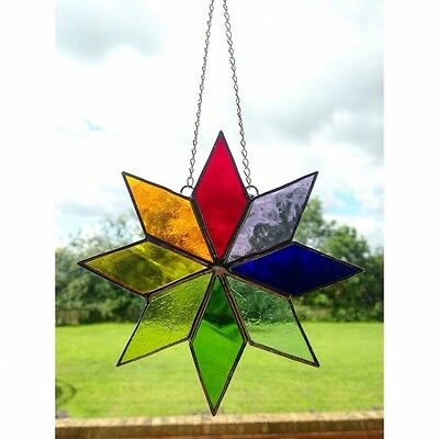 Handmade Stained Glass Star Sun catcher Tiffany Glass Multi Coloured, Gift