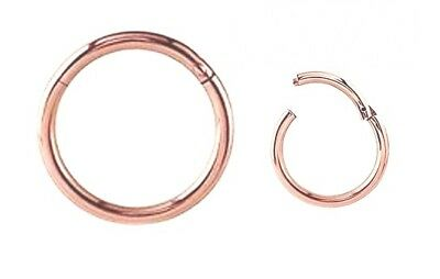 Rose Gold Steel Hinged Segment Ring Clicker 1.2mm -1.6mm Gauge 6mm 8mm 10mm 12mm