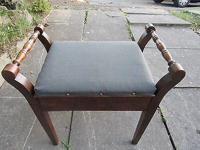 Antique mahogany piano stool with tartan seat and music drawer