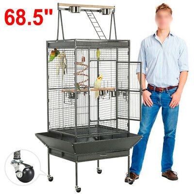 """68"""" Large Bird Cages Play Top Parrot Finch Aviary Supplies w/Stand Ladder Wheel"""