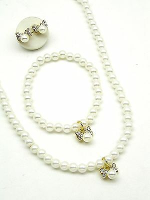 Children's acrylic pearl necklace, bracelet and earring Full set ( Gold )