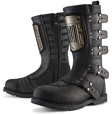 ICON 1000 ELSINORE HP Leather Motorcycle Boots (Black) US 8