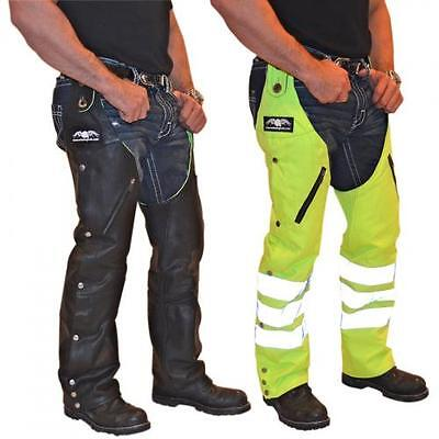 Reversible Leather Motorcycle Safety Chaps (Black / Hi-Viz Green) 2XL (2X-Large)