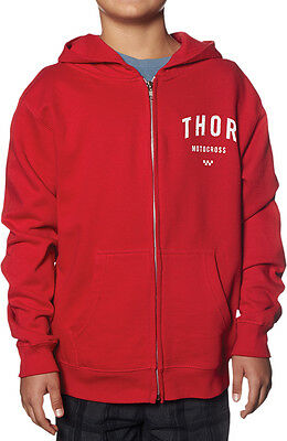 THOR MX Motocross 2016 Kids SHOP Zip-Up Sweatshirt Hoodie (Red) YS (Youth Small)