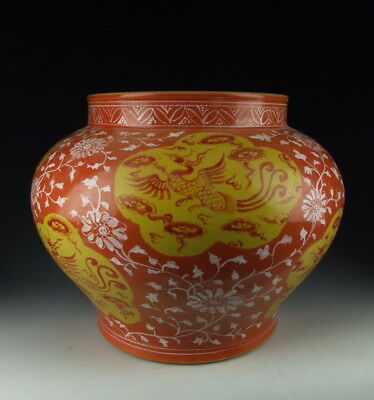China Antiques Red&yellow Coloring Porcelain Pot W Phoenix