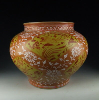 China Antiques Yellow&orange Coloring Porcelain Pot With Fish