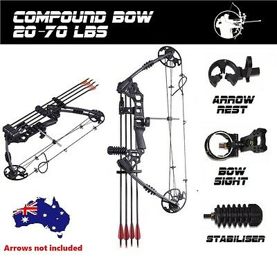 20-70lbs Compound Bow Arrow Archery Hunting Target Shooting Black Magnesium RH