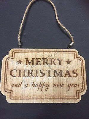 Merry Christmas New Year Xmas Party Wooden Door Tree Hanging Decoration Sign