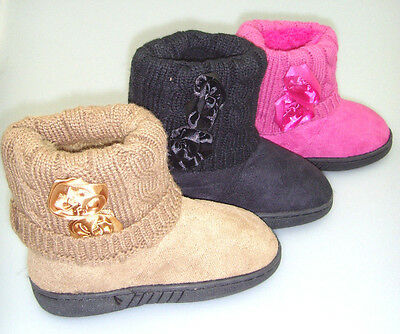 Infant Toddler Baby Girls Faux Suede Flat Winter Fur Boots Shoes Size 5-10 62340