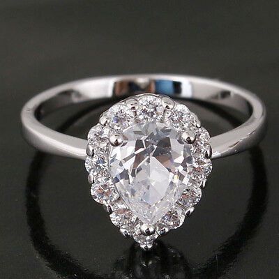 Stunning 18k White Gold Filled Raindrop Cut Clear Sapphire Diamond Lady Rings