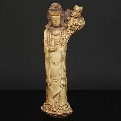 Exquisite Chinese ox Horns Handmade Guanyin and Dragon statue
