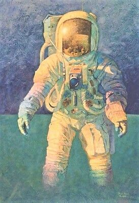 """That's how it felt to Walk on the Moon"", Print signed Alan Bean Apollo 12 LMP"