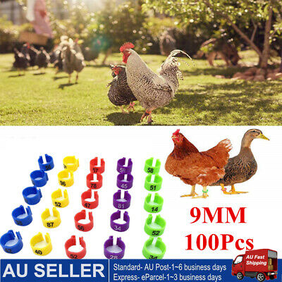 100PC 9mm Poultry Chicken Pigeon Bird Chicks Parrot Leg Bands Duck Clip-on Rings