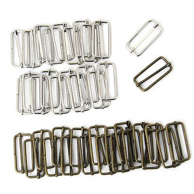 20pcs Metal Slides Tri-glides Wire-formed Roller Pin Buckles Strap Adjuster