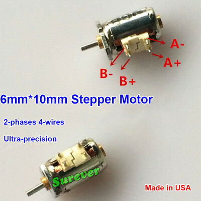 10pcs Mini 6mm*10mm Precision Stepper Motor  2-phases 4-wires For Digital Camera