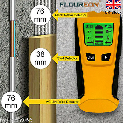 Floureon 3 in 1 Stud Wood Wall Center Finder Scanner Metal AC Live Wire Detector