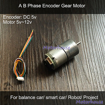 Gear Motor DC 5v Encoder AB Phase P/R Tachometer for Balance Smart Car Robot DIY
