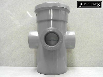 """110mm 4"""" Long Boss Pipe 40mm 43mm SOLVENT GLUED Waste Pipe Adaptor GREY"""