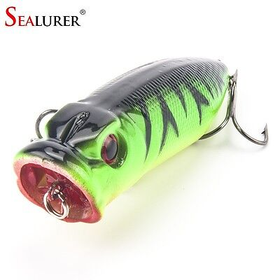 Fishing Tackle 3D eyes 6.5CM 13G With 6# Treble Hooks Popper Fishing Lure Plasti