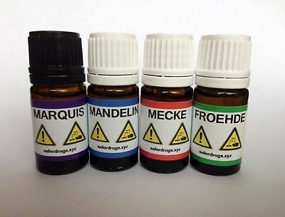 Marquis + Mandelin + Mecke + Froehde Reagent 5ml + Test vials + Color charts