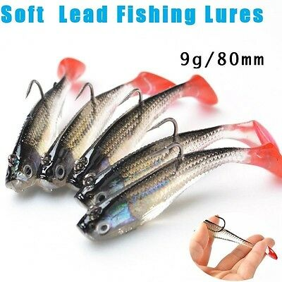 5Pcs/Lot 3D Eyes Lead Fishing Lures With T Tail Soft Fishing Lure Single Hook Ba