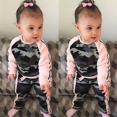 Toddler Kid Baby Girl T-shirt Tops +Pants Trousers Outfit Clothes Set Camouflage