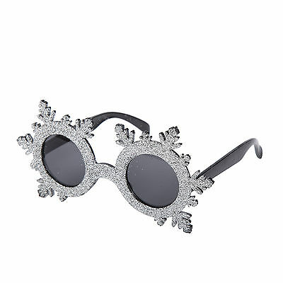 Novelty Christmas Fancy Dress Glasses (Silver Glitter Snowflake)