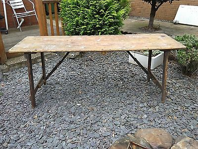 Vintage  industrial Wooden 6FT foldingTable  , Authentic ,untouched PICKUP ONLY